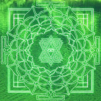 Green mandala photo by Elan Sun Star